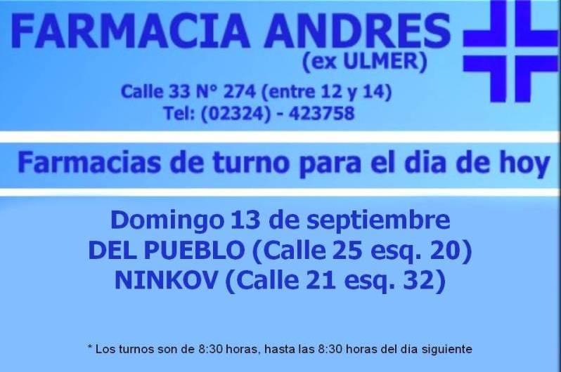Farmacias de turno del día domingo 13 de septiembre