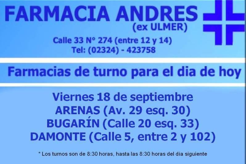 Farmacias de turno día viernes 18 de septiembre