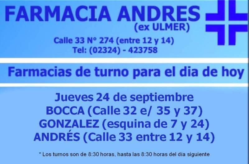 Farmacias de turno día jueves 24 de septiembre