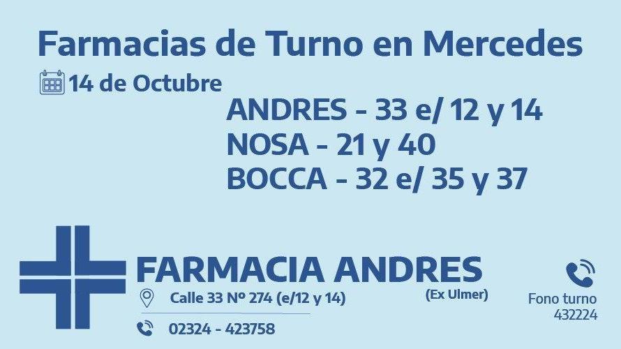 Farmacias de turno del miércoles 14 de octubre