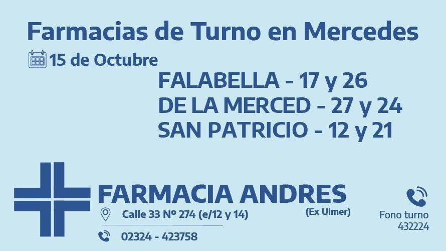 Farmacias de turno del jueves 15 de octubre