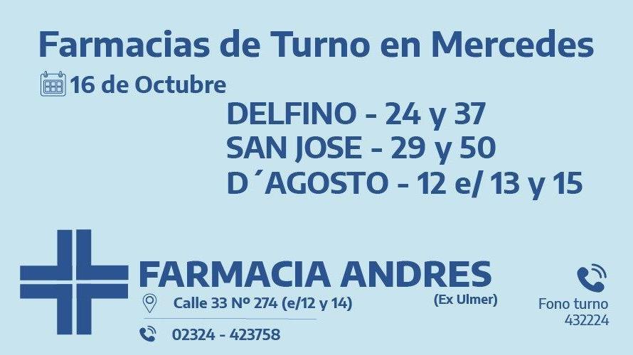 Farmacias de turno del viernes 16 de octubre
