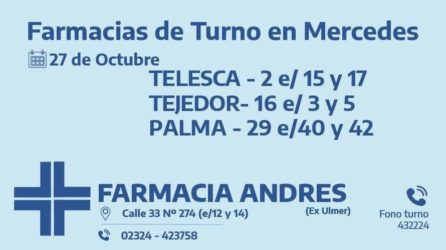Farmacias de turno del martes 27 de octubre