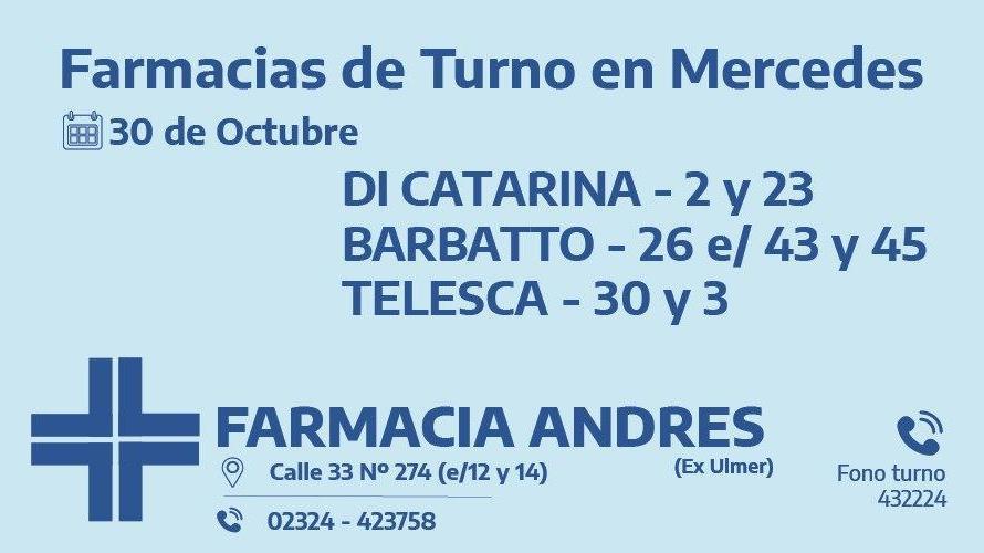 Farmacias de turno del viernes 30 de octubre