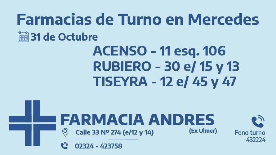 Farmacias de turno del sábado 31 de octubre