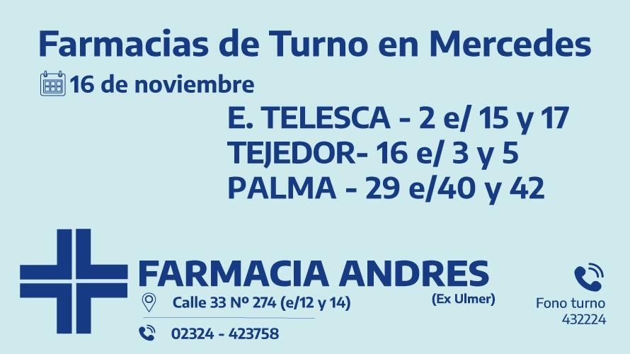 Farmacias de turno del día lunes 16 de noviembre