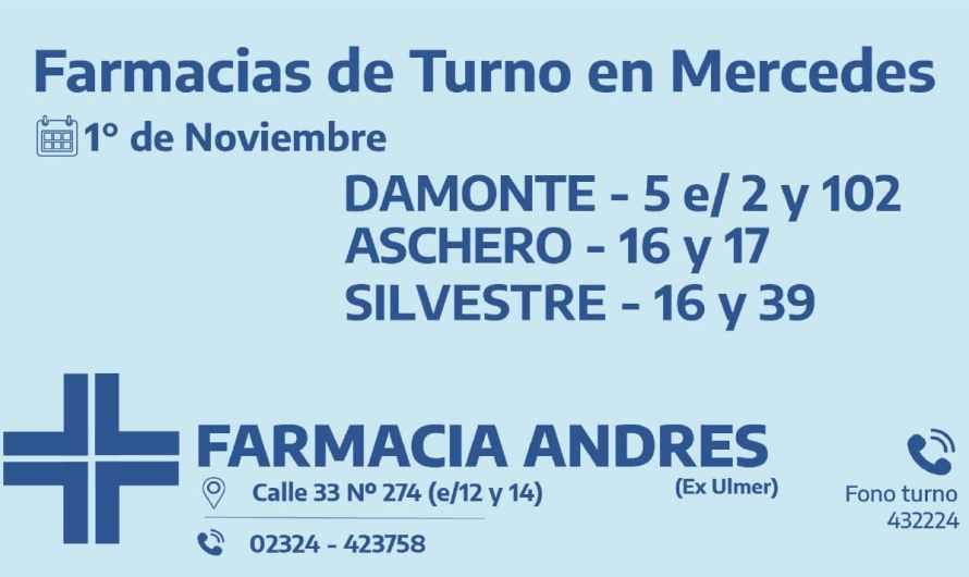 Farmacias de turno del domingo 1° de noviembre