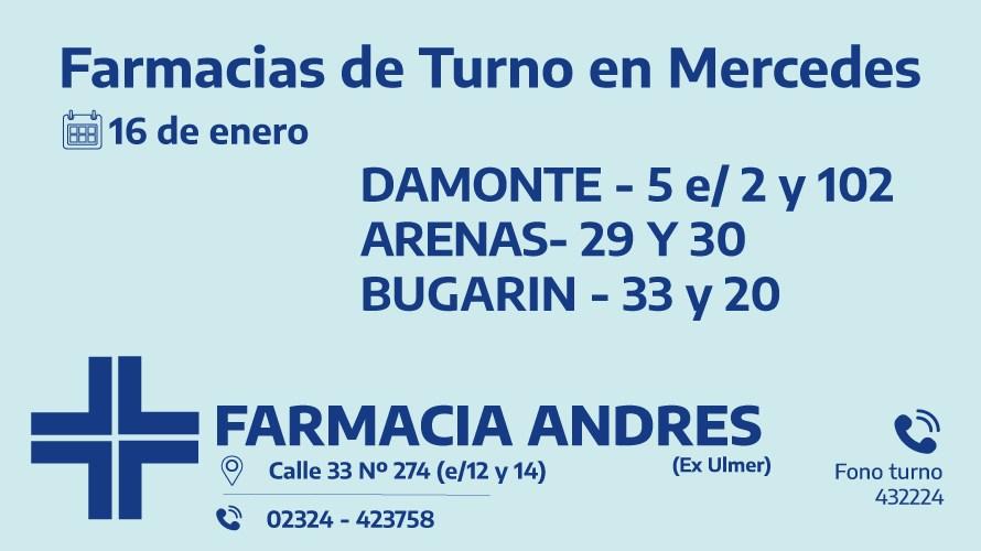 Farmacias de turno del sábado 16 de enero