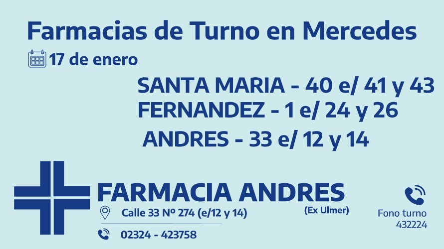 Farmacias de turno del domingo 17 de enero