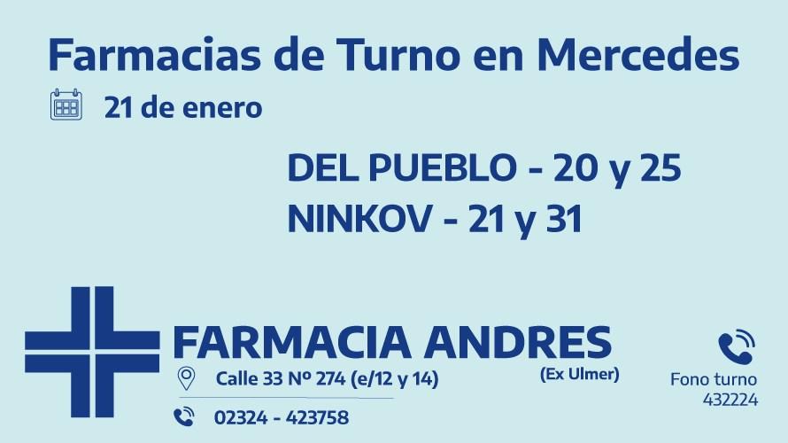 Farmacias de turno del jueves 21 de enero