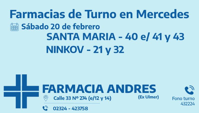 Farmacias de turno del sábado 20 de febrero