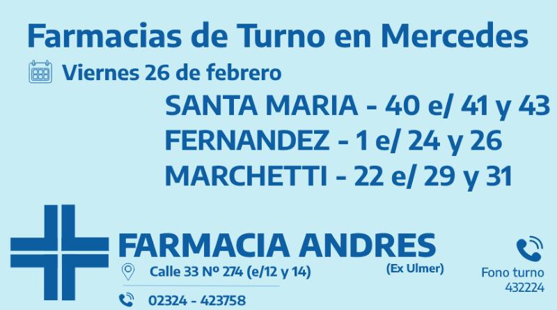 Farmacias de turno del viernes 26 de febrero