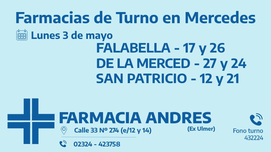 Farmacias de turno del lunes 3 de mayo