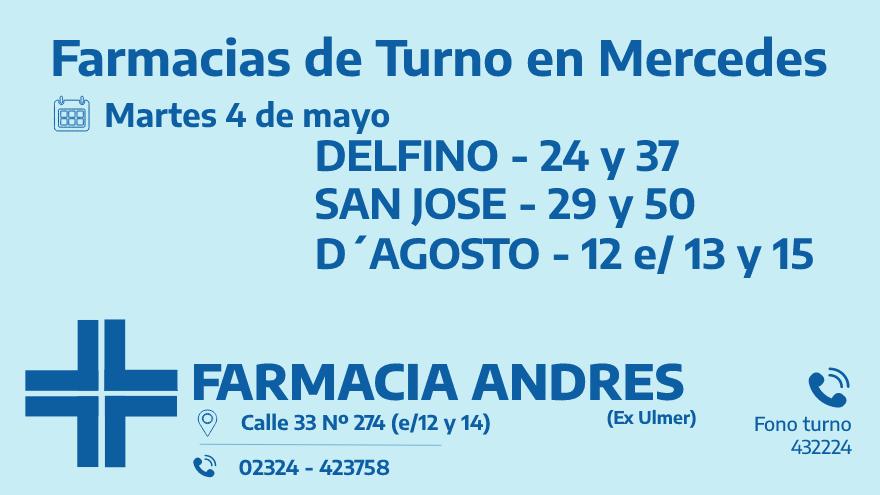 Farmacias de turno del martes 4 de mayo