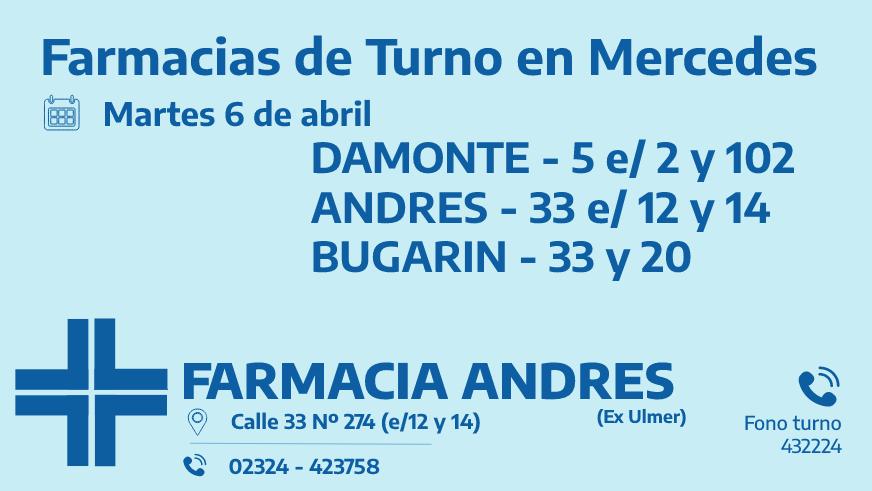 Farmacias de turno del martes 6 de abril