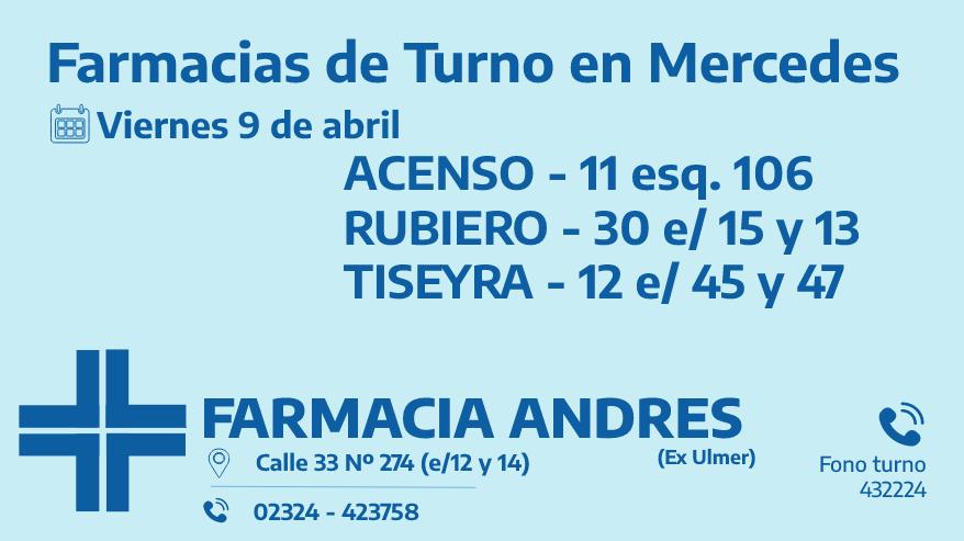 Farmacias de turno del viernes 9 de abril