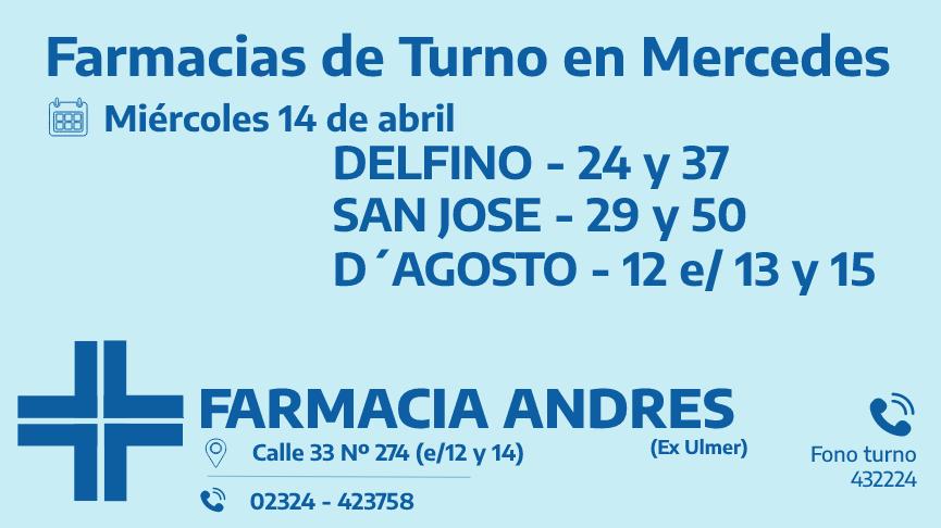 Farmacias de turno del miércoles 14 de abril