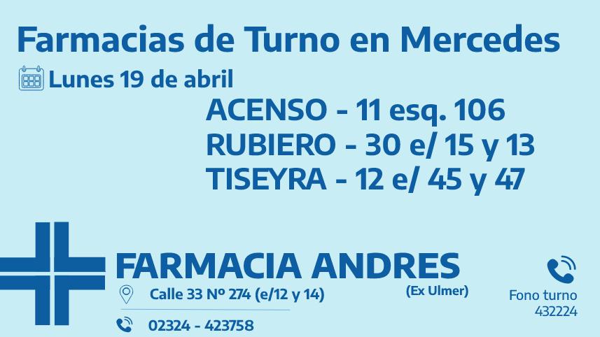Farmacias de turno del lunes 19 de abril