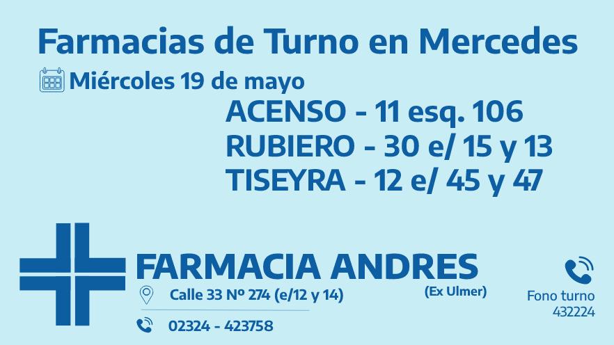 Farmacias de turno del miércoles 19 de mayo
