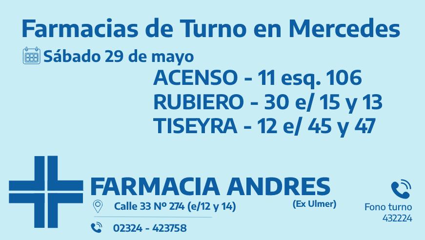 Farmacias de turno del sábado 29 de mayo