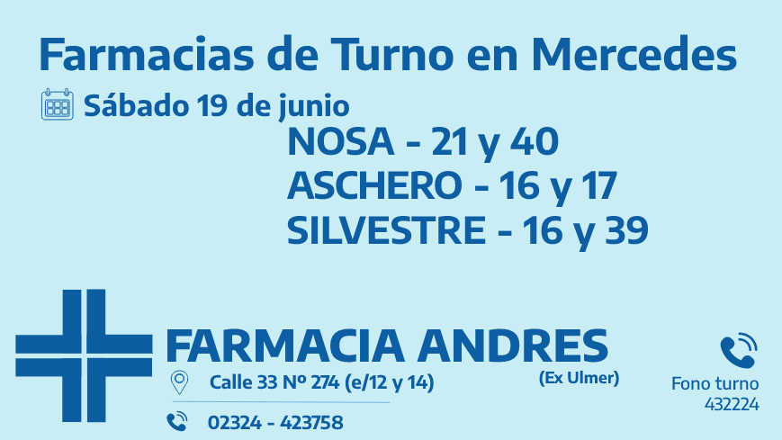 Farmacias de turno del sábado 19 de junio