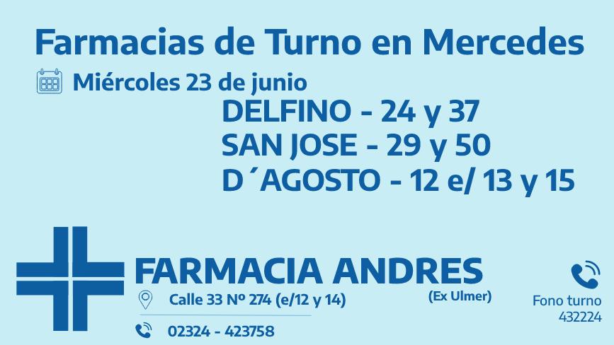 Farmacias de turno del miércoles 23 de junio