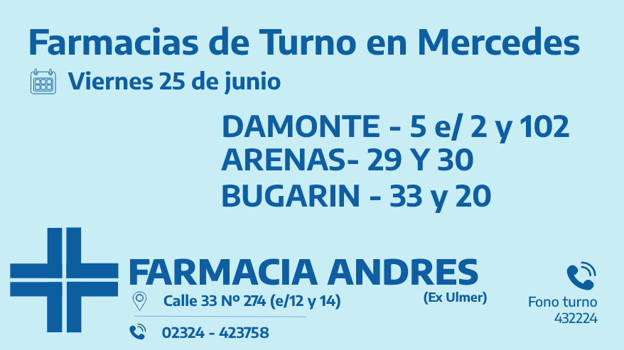Farmacias de turno del viernes 25 de junio