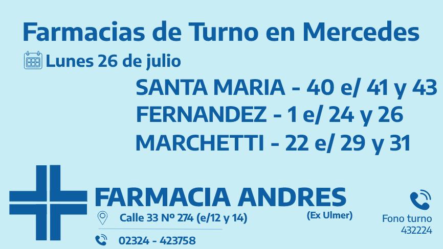Farmacias de turno del lunes 26 de julio