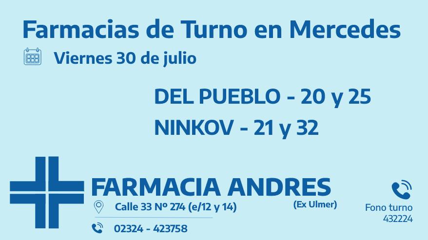 Farmacias de turno del viernes 30 de julio