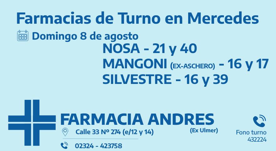 Farmacias de turno del domingo 8 de agosto