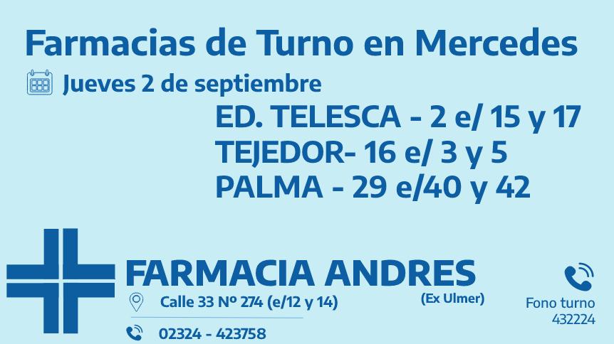 Farmacias de turno del jueves 2 de septiembre