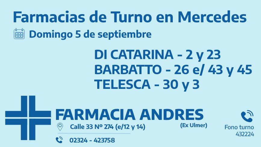 Farmacias de turno del domingo 5 de septiembre