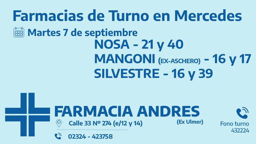 Farmacias de turno del martes 7 de septiembre