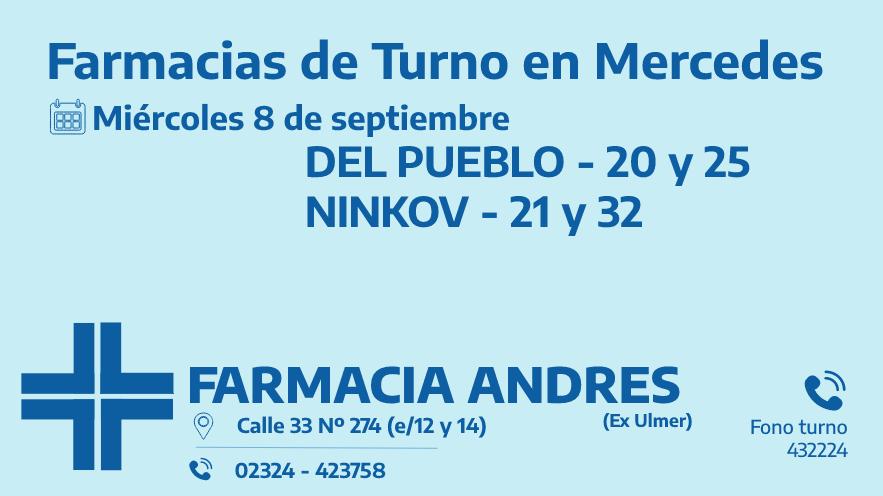 Farmacias de turno del miércoles 8 de septiembre