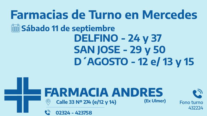 Farmacias de turno del sábado 11 de septiembre