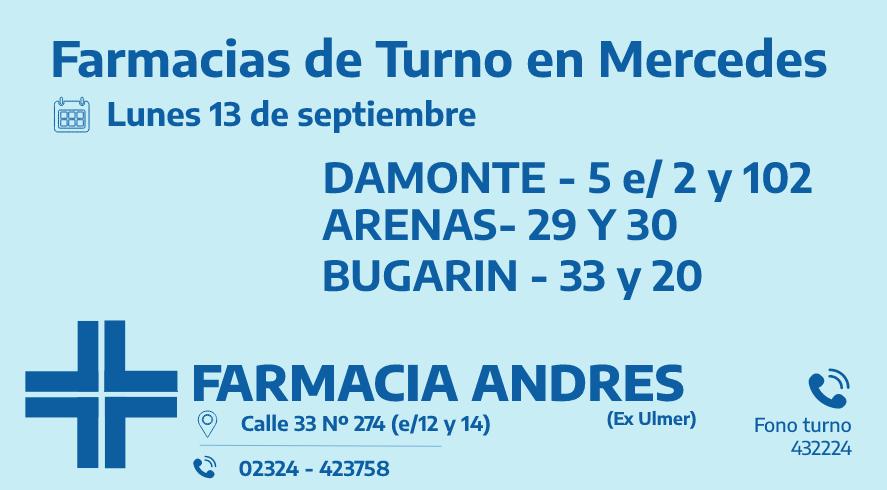 Farmacias de turno del lunes 13 de septiembre