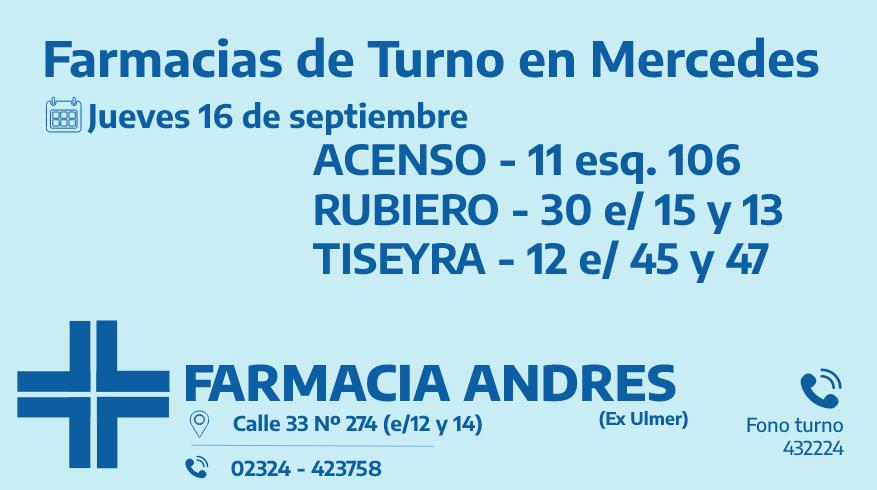 Farmacias de turno del jueves 16 de septiembre
