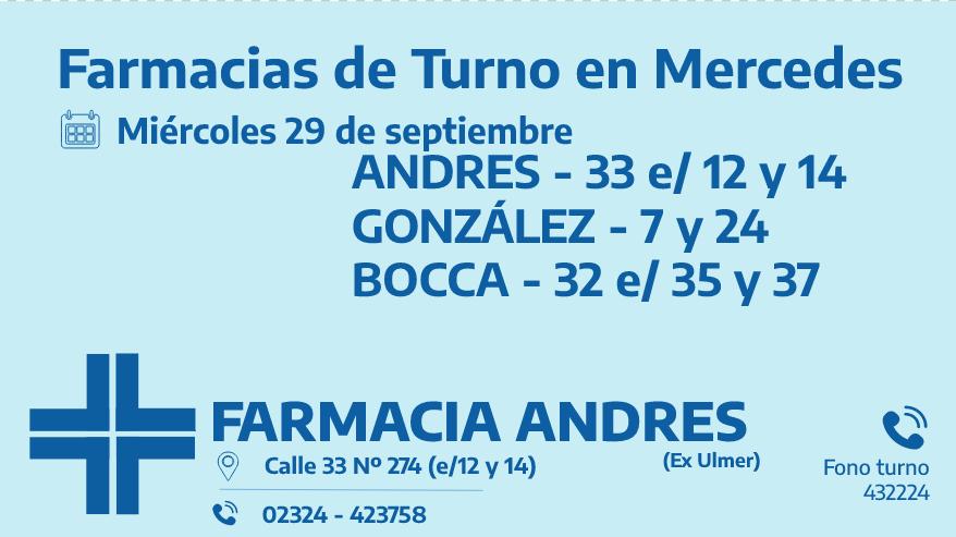 Farmacias de turno del miércoles 29 de septiembre