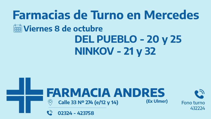 Farmacias de turno del viernes 8 de octubre