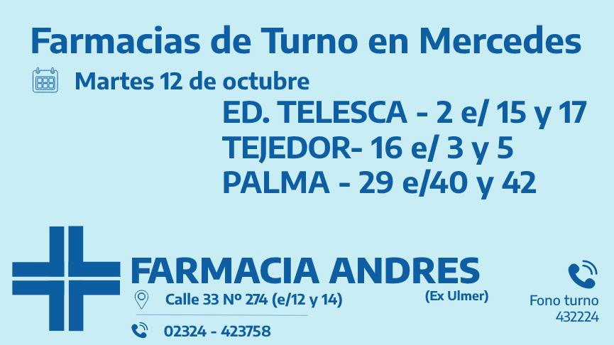Farmacias de turno del martes 12 de octubre