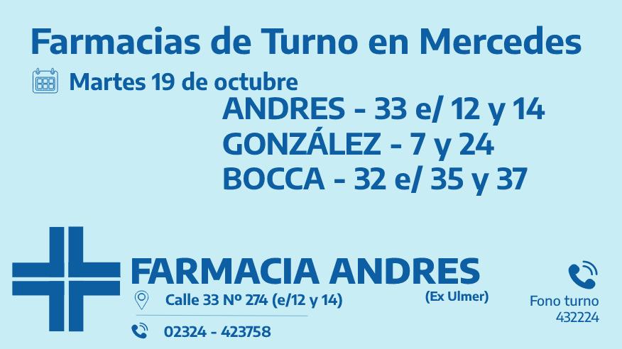 Farmacias de turno del martes 19 de octubre