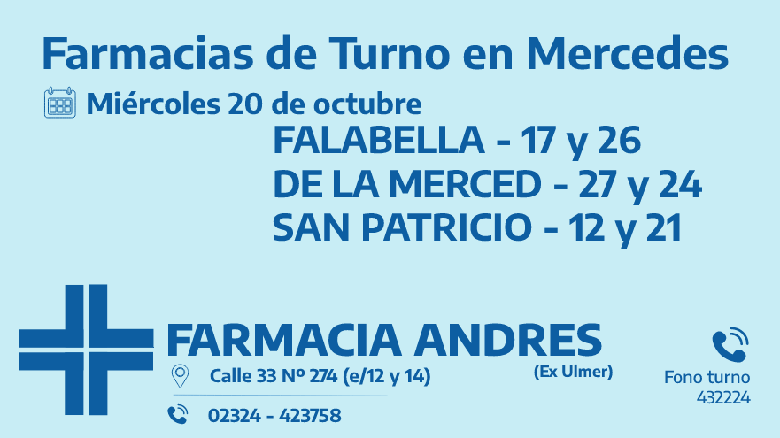 Farmacias de turno del miércoles 20 de octubre