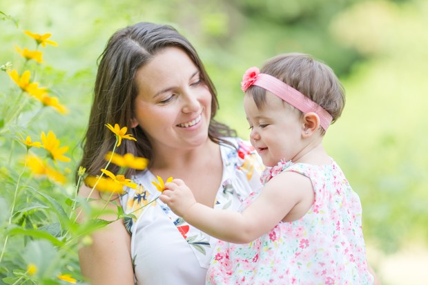 mom and daughter with yellow flowers