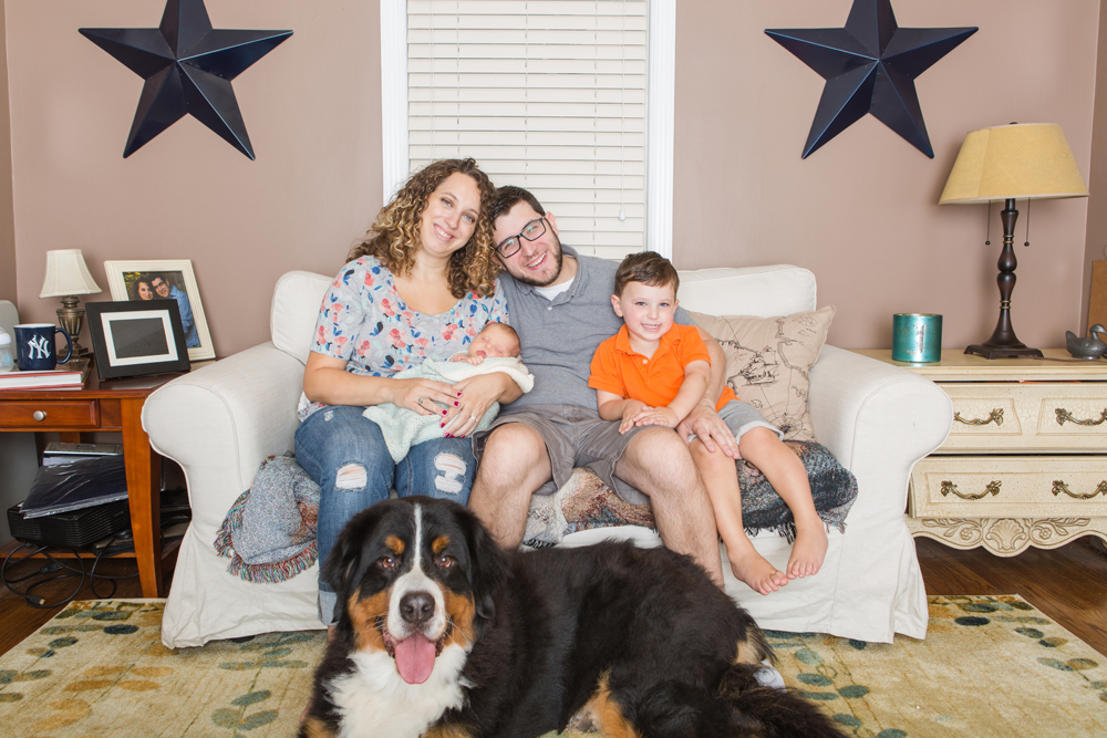 family portrait on couch