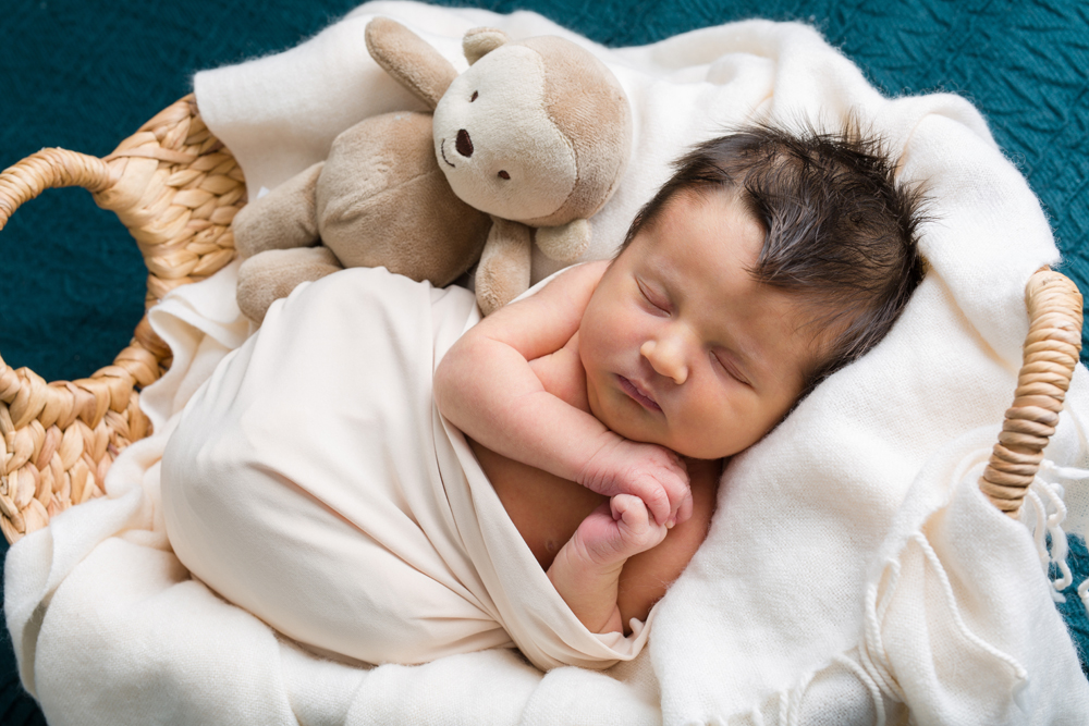 newborn boy in basket with stuffed animal