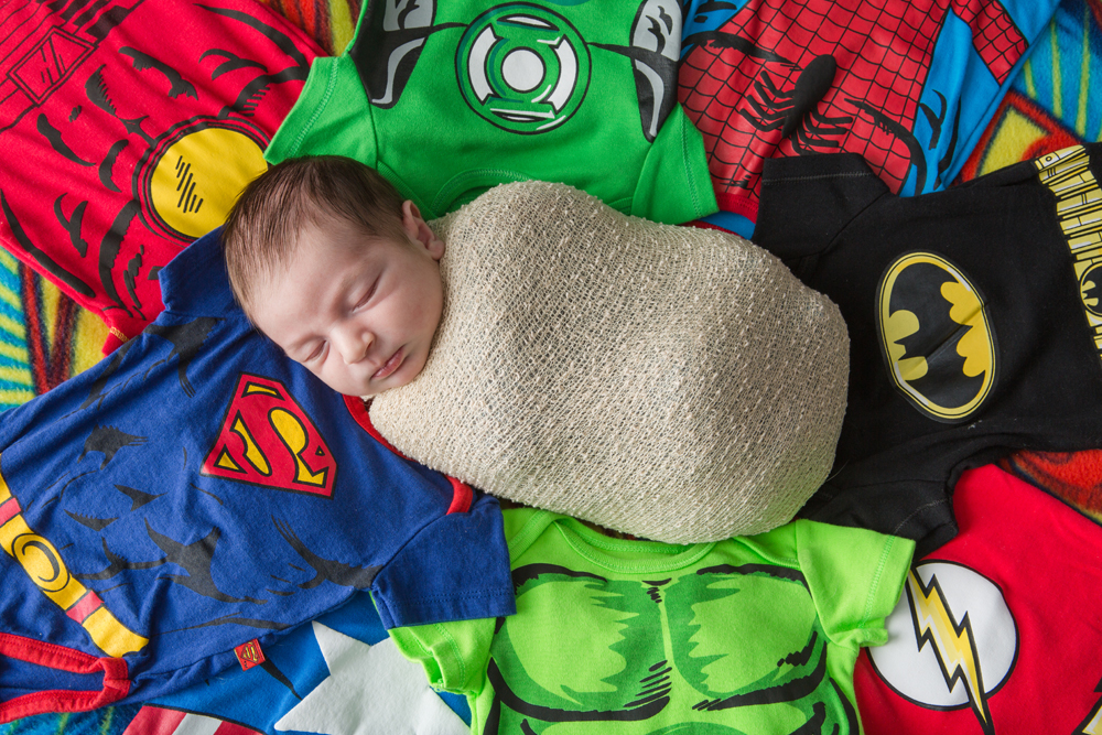newborn with superhero theme