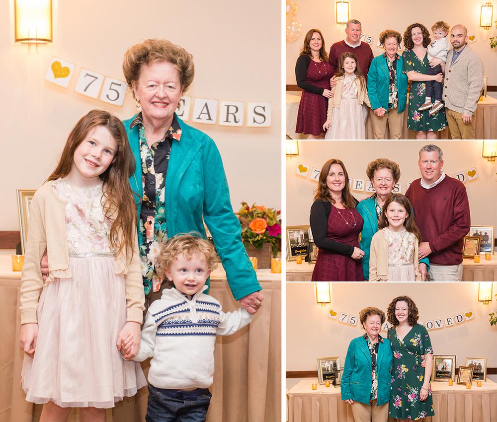 family photos taken at a birthday party
