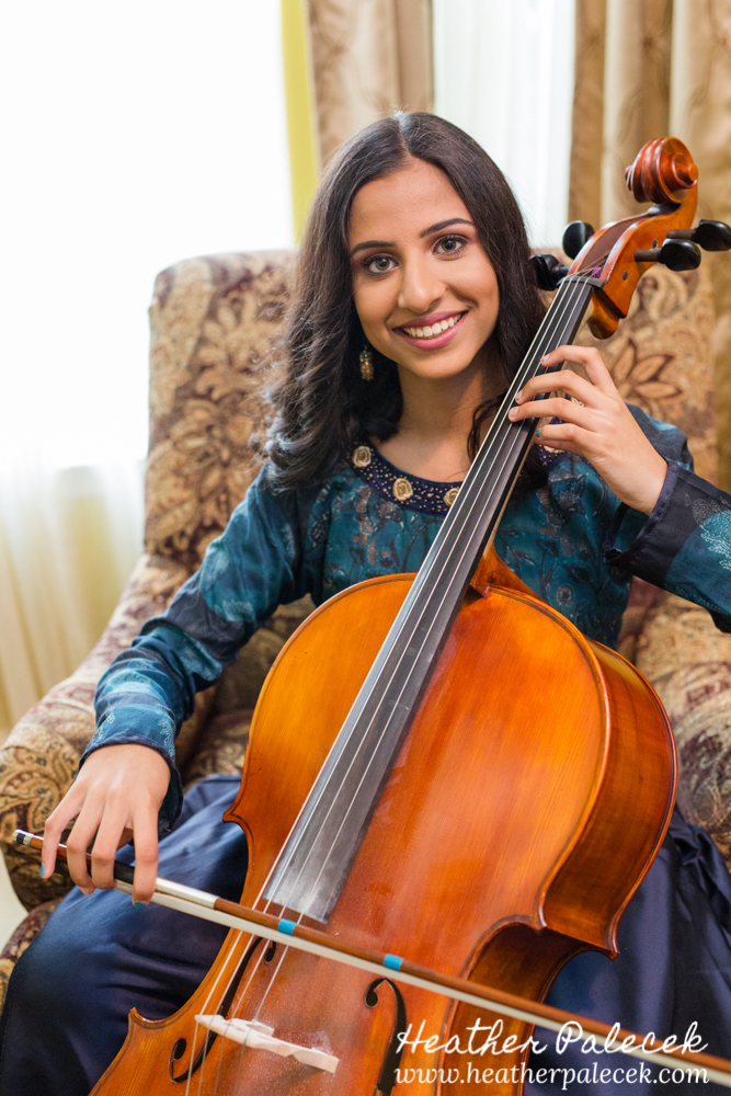 girl plays cello at sweet sixteen portrait