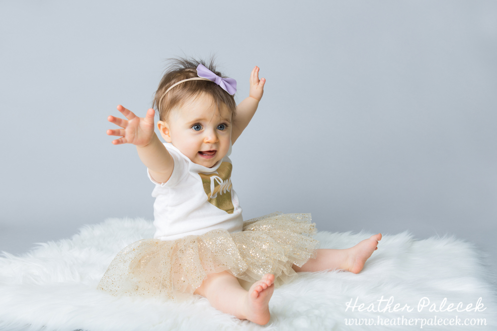 Snowflakes, Gold, and Purple 1st Birthday Portraits