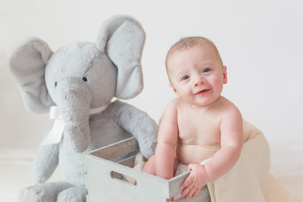 All White Portrait Session for 6 month old